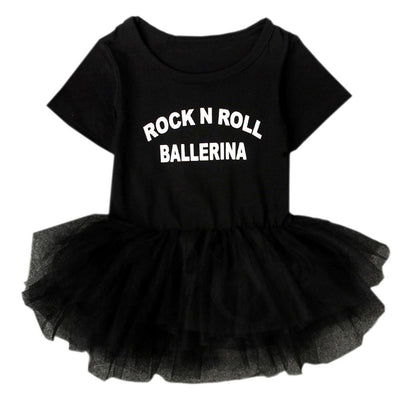 "- ""Rock N Roll Ballerina"" Slogan Black Baby Girl Dress Snap Button Short-sleeve Toddler Kiddie Tutu Costume Lace Clothing NY03QZ -   jetcube"