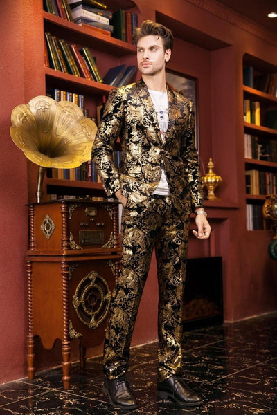 - (jacket+pants)male golden suit set wedding groom prom singer trousers performance show nightclub Blazer Outdoors wear party bar -   jetcube