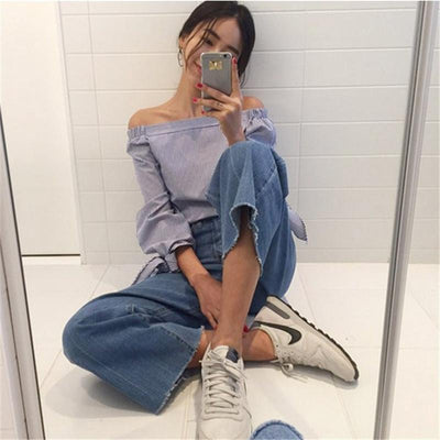 2017 Plus Size Women Sexy Blouses Slash Neck Off Shoulder Bow Long Sleeve Casual Tops Shirts Blue White Striped Party Blusas  dailytechstudios- upcube