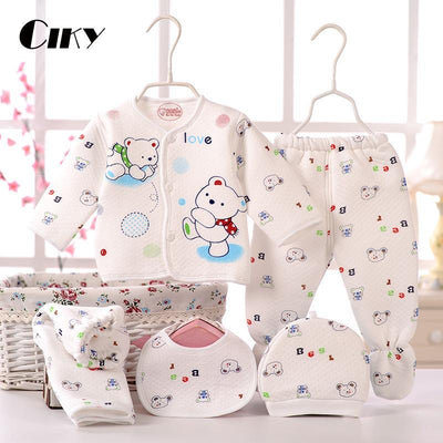- (5pcs/set)Newborn Baby 0-6M  Boy Girl warm Clothes set 100%Cotton Cartoon winter Underwear baby set hat bibs Hat B-064 -   jetcube