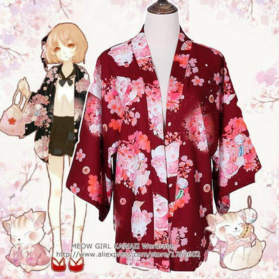 "- ""Onegai Neko"" Praying Cat Women's Japanese Kimono Style Kawaii Blossom Bunny Trench Cute Lolita Loose Outwear 4 Colors -   jetcube"
