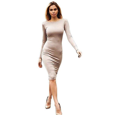 Gamiss Bodycon Sheath Dress Long Sleeve Party Sexy Dresses Women Clothing  Back Full Zipper Robe Sexy 2e1b949cac9d