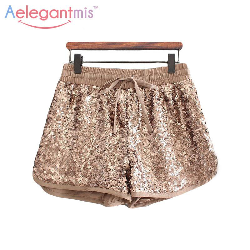 a0259c1d63b (11.26 Special Offer) Aelegantmis Fashion Gold Sequin Shorts Women Elastic  Waist Loose Shorts