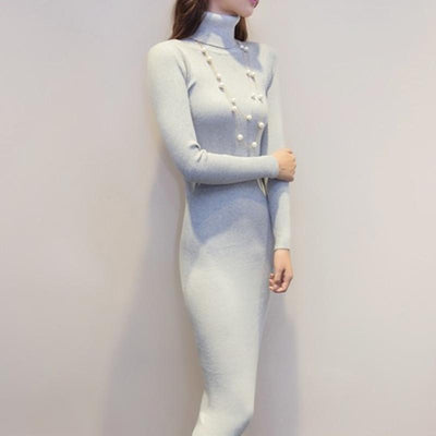 2017 new arrive women autumn and winter sweater dresses slim Turtleneck long knitted dress sexy bodycon robe dress D019  dailytechstudios- upcube