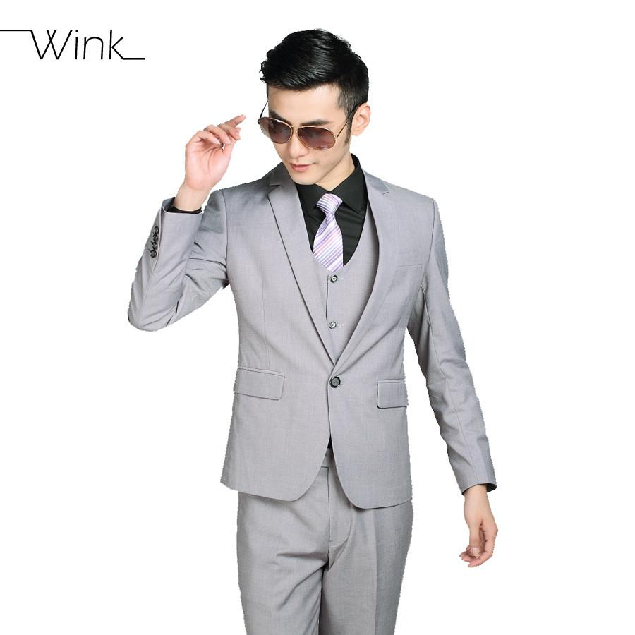 - (Jacket+Pants+Tie) Men Business Dress Suit Slim Custom Tuxedo Formal Blazer Fashion Brand Male Wedding Suits For Men 18 Styles -   jetcube