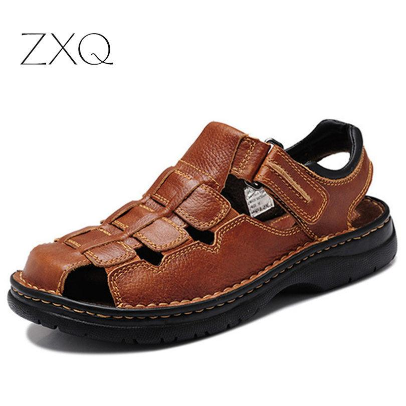 c39b2f3908b18 2017 Italian Style Men Sandals Slippers Genuine Leather Outdoor Casual  Men S Summer Shoes Gladiator Sandals For