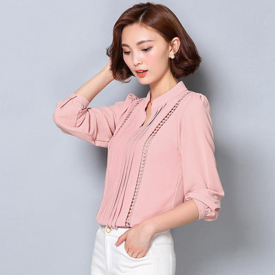 - 2016 fashion fall women chiffon blouse Korean style plus size formal blouse for office lady solid color V-neck blouse  803A 25 -   jetcube