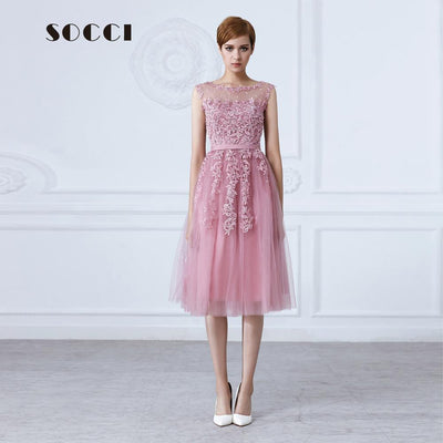Tulle Lace Appliques Short Cocktail Dress 2016 Red Zipper Back A-line Formal  Wedding Party 444b350ec193