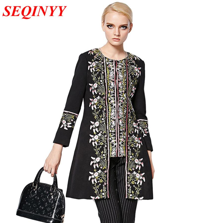 2017 Autumn Spring Winter Coat Fashion Daily XXL European Elegant Women Long Sleeve Retro Embroidery Long Trench Coat