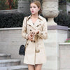 - 1PC Double Breasted Trench Coat For Women Slim Long Coat Casaco Feminino Abrigos Mujer Spring Autumn Outerwear ZZ3505 -   jetcube