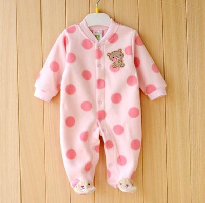 ce32dff0f3f7 0-12M Autumn Fleece Baby Rompers Cute Pink Baby Girl Boy Clothing Infant  Baby