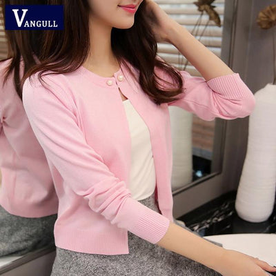 - 2016 high quality Spring autumn sweater women cardigan sweater Solid color One button women's cashmere sweater - Pink / L  jetcube