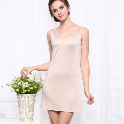 - 100%REAL SILK  women sleep dress solid basic slip dress V neck FULL slips sleeveless new underwear BLUE WHITE BLACK NUDE - Beige / M  jetcube