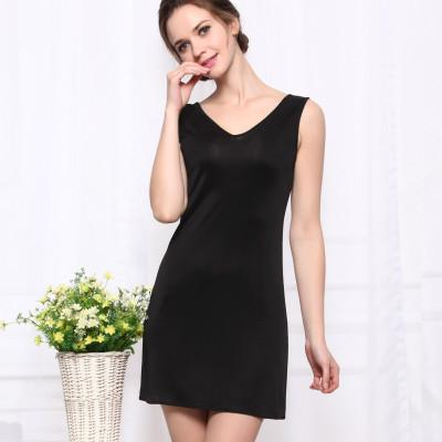 - 100%REAL SILK  women sleep dress solid basic slip dress V neck FULL slips sleeveless new underwear BLUE WHITE BLACK NUDE - Black / M  jetcube