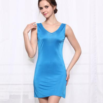 - 100%REAL SILK  women sleep dress solid basic slip dress V neck FULL slips sleeveless new underwear BLUE WHITE BLACK NUDE - Blue / M  jetcube