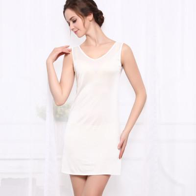 - 100%REAL SILK  women sleep dress solid basic slip dress V neck FULL slips sleeveless new underwear BLUE WHITE BLACK NUDE - White / M  jetcube