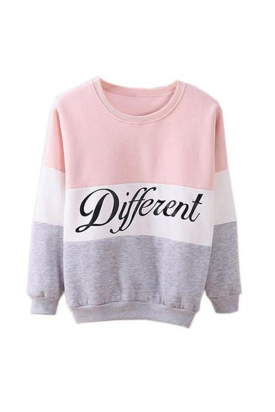 - 2015 Autumn and winter women fleeve hoodies printed letters Different women's casual sweatshirt hoody sudaderas - Pink / S  jetcube