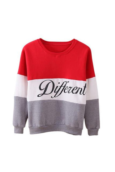 - 2015 Autumn and winter women fleeve hoodies printed letters Different women's casual sweatshirt hoody sudaderas - Red Gray / S  jetcube