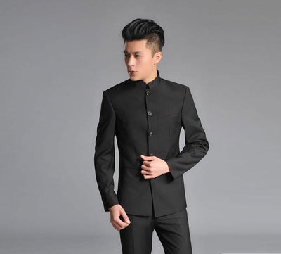 - ( Jacket + Pants ) 2017 Top Quality Fashion Brand Men Suits Chinese tunic suit Gray Blazers Slim Custom Fit Tuxedo Prom Groom - Black / S  jetcube