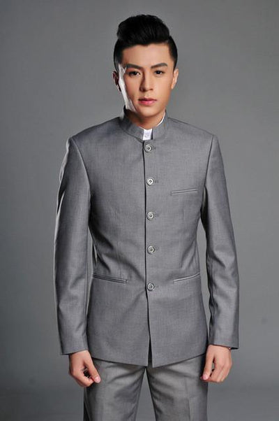- ( Jacket + Pants ) 2017 Top Quality Fashion Brand Men Suits Chinese tunic suit Gray Blazers Slim Custom Fit Tuxedo Prom Groom - Gray / S  jetcube