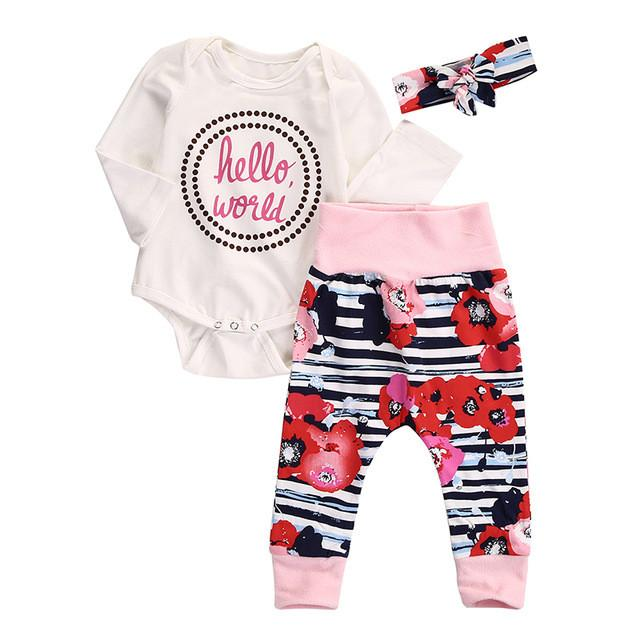- 0-18M Newborn Infant Baby Girl Clothes Hello World Romper Flower Pant Legging Headwear 3pcs Outfit Toddler Kids Clothing Set - A / 0-3 months  jetcube