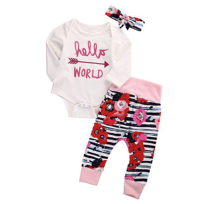 - 0-18M Newborn Infant Baby Girl Clothes Hello World Romper Flower Pant Legging Headwear 3pcs Outfit Toddler Kids Clothing Set - B / 0-3 months  jetcube