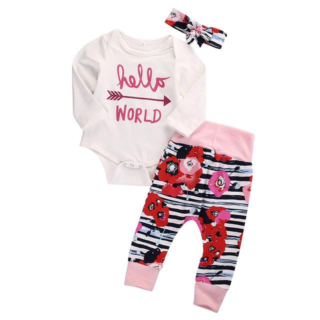 - 0-18M Newborn Infant Baby Girl Clothes Hello World Romper Flower Pant Legging Headwear 3pcs Outfit Toddler Kids Clothing Set -   jetcube