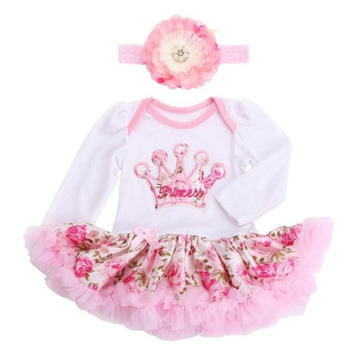 - 0 3 months first birthday girl tutu set newborn clothing baby girl dress formal infant clothes newborn baby girl clothes - 1D2005 / 0-3 months  jetcube