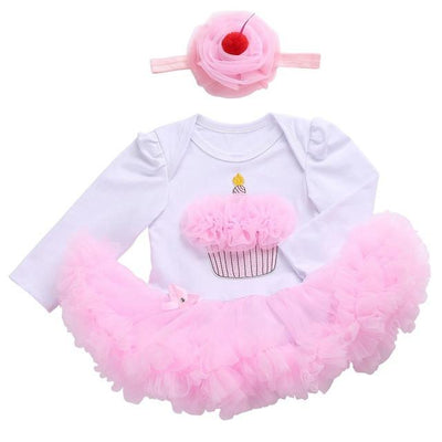 - 0 3 months first birthday girl tutu set newborn clothing baby girl dress formal infant clothes newborn baby girl clothes - 1D2001 / 0-3 months  jetcube
