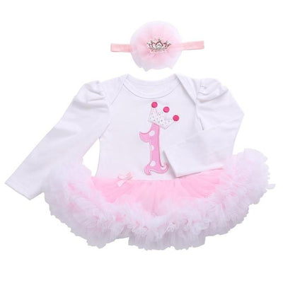 - 0 3 months first birthday girl tutu set newborn clothing baby girl dress formal infant clothes newborn baby girl clothes - 1D2003 / 0-3 months  jetcube