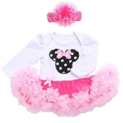 - 0 3 months first birthday girl tutu set newborn clothing baby girl dress formal infant clothes newborn baby girl clothes - 1D2002 / 0-3 months  jetcube