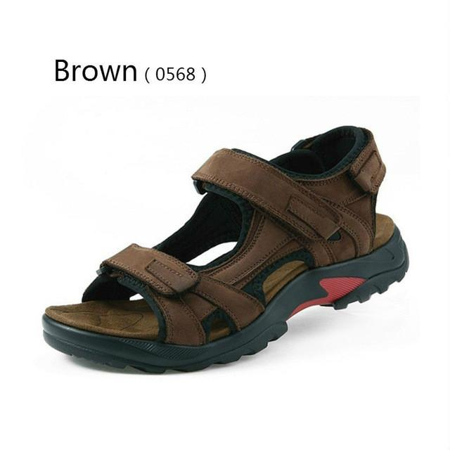80c9fe37a BIMUDUIYU Top Quality Mens Sandals Outdoor Genuine Leather Summer Cool  Light Weight Beach Casual Shoes Handmade