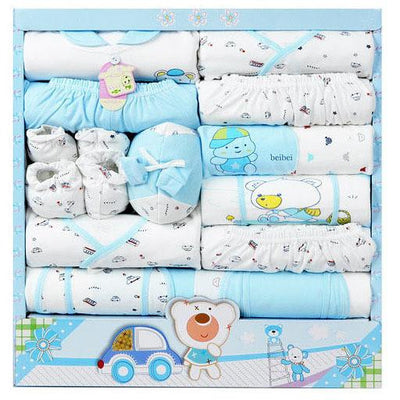 - (15Pcs/Set) High Quality 100% Cotton Newborn Baby Clothing Gift Sets Infant Cute Suit Baby Girls Boys Clothes - blue  jetcube