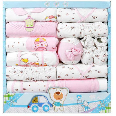 - (15Pcs/Set) High Quality 100% Cotton Newborn Baby Clothing Gift Sets Infant Cute Suit Baby Girls Boys Clothes - pink  jetcube