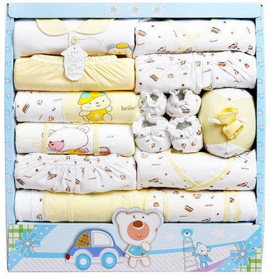 - (15Pcs/Set) High Quality 100% Cotton Newborn Baby Clothing Gift Sets Infant Cute Suit Baby Girls Boys Clothes - yellow  jetcube