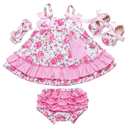 a89fef38546d 2017 Summer Style Baby Swing Top Baby Girls Clothing Set Infant Flower Ruffle  Outfits Bloomer Headband