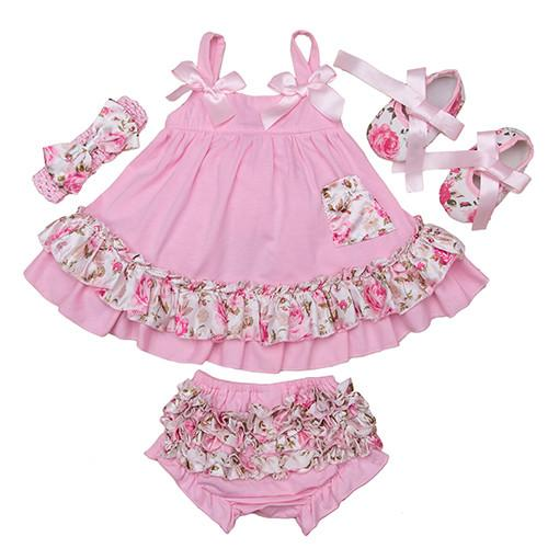 93f35999b7d 2017 Summer Style Baby Swing Top Baby Girls Clothing Set Infant Flower Ruffle  Outfits Bloomer Headband