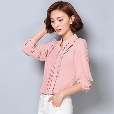 - 2016 fashion fall women chiffon blouse Korean style plus size formal blouse for office lady solid color V-neck blouse  803A 25 - Pink / L  jetcube