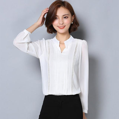 - 2016 fashion fall women chiffon blouse Korean style plus size formal blouse for office lady solid color V-neck blouse  803A 25 - White / L  jetcube