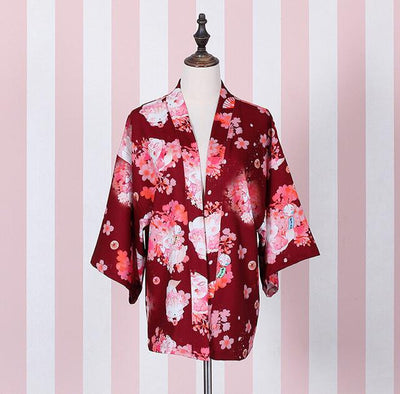 "- ""Onegai Neko"" Praying Cat Women's Japanese Kimono Style Kawaii Blossom Bunny Trench Cute Lolita Loose Outwear 4 Colors - Wine Red / One Size  jetcube"
