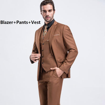 - (Blazer+Pants+Vest) Luxury Trajes Para Hombre Khaki Color Vintage Men Stage Clothing Skinny Wedding Groom Three Piece Suit M-2XL - 3pcsCamelColor / M  jetcube