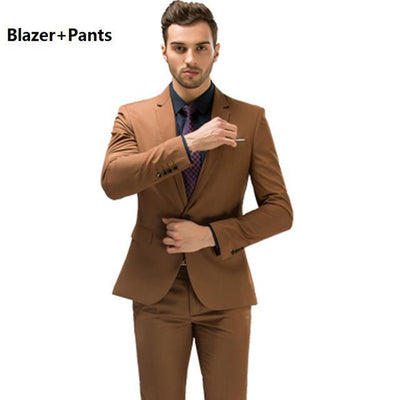 - (Blazer+Pants+Vest) Luxury Trajes Para Hombre Khaki Color Vintage Men Stage Clothing Skinny Wedding Groom Three Piece Suit M-2XL - 2PcsKhaki / M  jetcube
