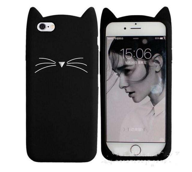 2c5c157483 3D Cute Cat Beard Silicone Case for iPhone 7 Plus Adorable Animal iPhone 5S  SE 5