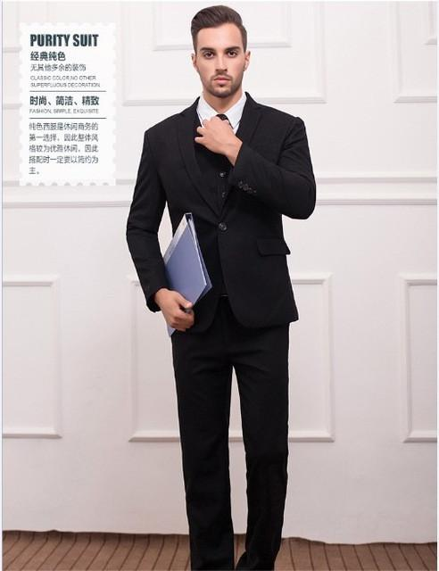 - (Jackets+Vest+Pants) New Men Suits Slim Fit Tuxedo Brand Fashion Bridegroon Business Dress Wedding black Suits Blazer - black / S  jetcube