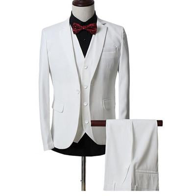 - (Jackets+Vest+Pants) New Men Suits Slim Fit Tuxedo Brand Fashion Bridegroon Business Dress Wedding black Suits Blazer - white / S  jetcube