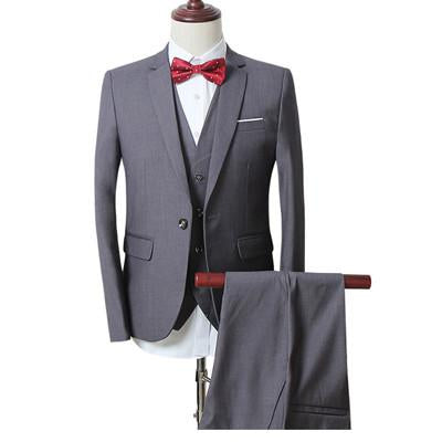 - (Jackets+Vest+Pants) New Men Suits Slim Fit Tuxedo Brand Fashion Bridegroon Business Dress Wedding black Suits Blazer - gray / S  jetcube