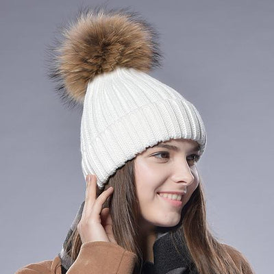 - 2016 Furtalk  Real Fur Hat Knitted Real Big  Raccoon  Pom Pom Hat Women Winter Hat - White / China  jetcube