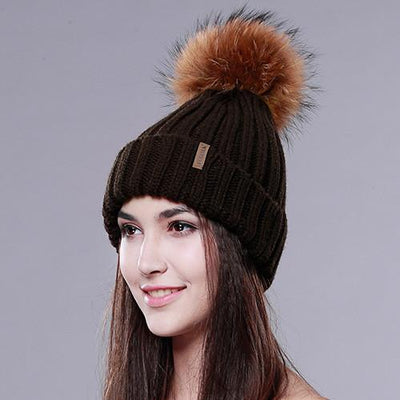 - 2016 Furtalk  Real Fur Hat Knitted Real Big  Raccoon  Pom Pom Hat Women Winter Hat - Brown / China  jetcube