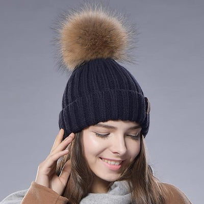 - 2016 Furtalk  Real Fur Hat Knitted Real Big  Raccoon  Pom Pom Hat Women Winter Hat - navy / China  jetcube