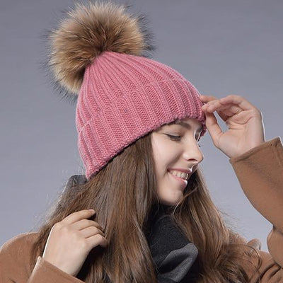 - 2016 Furtalk  Real Fur Hat Knitted Real Big  Raccoon  Pom Pom Hat Women Winter Hat - Pink / China  jetcube